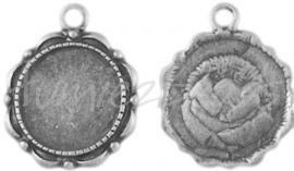 02010 Hanger cabochon setting Antiek zilver (Nikkelvrij) 23mmx18mm; binnenzijde 14mm 1 stuks