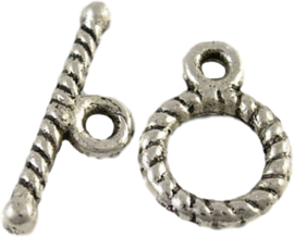 02943 Kapittelslot geringd Antiek zilver (Nikkelvrij) 12mmx9mm 9 stuks