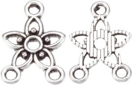 04461 Verdeler 1-2 rings bloem Antiek zilver (Nikkelvrij) 17,5mmx12mmx2mm; gat 1,5mm 8 stuks