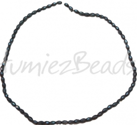 03196 Glaskraal electroplate facet ovaal streng ± 40cm AB color 6mmx4mm 1 streng