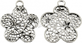 01241 Hanger bloem Antiek zilver (Nikkelvrij) 1 stuks