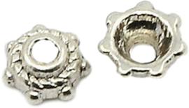 04448 Kralenkap Touw Antiek zilver (Nikkelvrij) 5mmx2mm; gat 1mm ±50 stuks