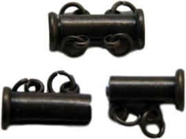 01346 Magneetschuifslot 2-rings Antiek brons 15mmx7mm 1 stuks