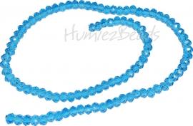 03976 Glaskraal imitatie swarovski faceted Abacus streng ±40cm Caribbean Blue 4mmx6mm  1 streng