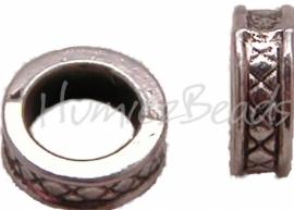 01600 Spacer de x-kraal Antiek zilver (Nikkelvrij) 8mmx3mm 12 stuks