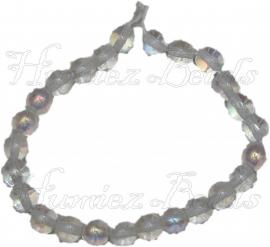 00663 Tsjechische glaskraal Transparant AB 6mm 1 streng