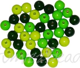 01103 Houten kraal gelakt Mixed color 12mm ±38 stuks