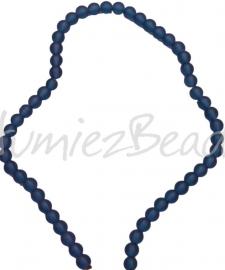 00279 Glaskraal frosted streng ±40cm Donker blauw 8mm 1 streng