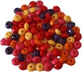 01051 Acryl kraal facet mix color 8mmx5mm; gat 1,5mm 20 gram