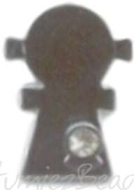 04263 Bedel meisje bling Metaalkleurig (Nikkelvrij) / Chrystal 24mmx15mmx3mm; gat 2mm 1 stuks