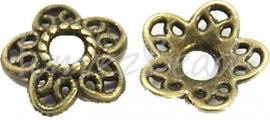 03779 Kralenkap Lelie Antiek brons (Nikkelvrij) 3mmx12mm; gat 3mm 12 stuks