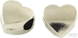 02671 Pandora-stijl kraal Hart Antiek zilver (Nikkelvrij) 10,5x10,5x7mm; gat 4,5mm 2 stuks