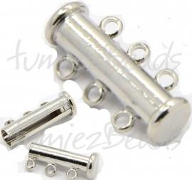 03715 Magneetschuifslot 3-rings Metaalkleurig (Nikkelvrij) 20mmx5mm 1 stuks