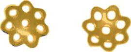 00713 Kralenkap filigraan Goudkleurig 6mmx1mm; gat 1mm ±50 stuks