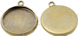 00598 Hanger cabochon setting Antiek brons (Nikkelvrij) 23,5mmx19mmx2,5mm; binnenzijde 15mm 1 stuks