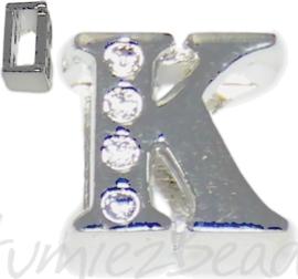 04246 Schuifkraal Letter K Metaalkleurig (Nikkelvrij) 9mmx9mm; gat 6,5mmx3,5mm 1 stuks