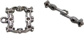 01874 Kapittelslot rechthoek chique Antiek zilver (nikkelvrij) 20mmx17mm 3 stuks