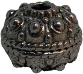 01368 Grote metalen kraal bedrukt Antiek zilver 1 stuks