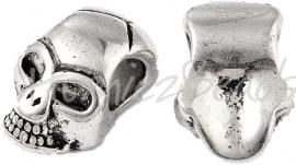 02782 Metalen kraal schedel Antiek zilver (Nikkelvrij) 12mmx8mmx6mm; gat 4mm 3 stuks
