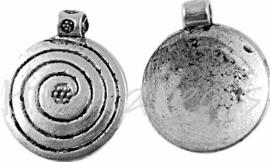 00079 Bedel spiraal Antiek zilver (Nikkel vrij) 18mm; gat 2mm