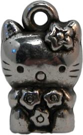 02041 Bedel Hello Kitty (metallook) Antiek zilver 16mmx9mmx8mm