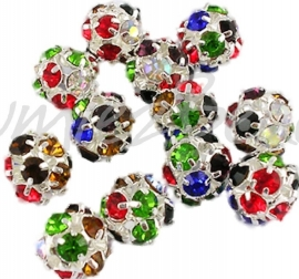 01003 Metalenkraal bling Zilverkleurig/ mix color 8mm; gat 1,2mm