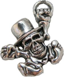 02087 Bedel schedel mannetje Antiek zilver 31mmx28mm