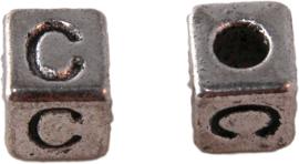 01155 Vierkante letterkraal C Antiek zilver