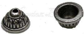 00709 Kralenkap Tulband Antiek zilver (Nikkel vrij) 7mmx11mm 7 stuks