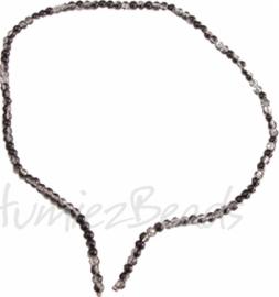 03569 Glaskraal streng (±40cm) crackle Zwart/transparant 4mm 1 streng