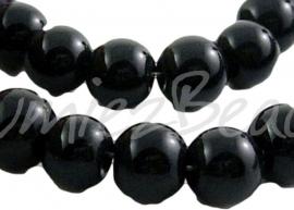 03903 Glaskraal rond streng (±30cm) Zwart 12mm; gat 1mm 1 streng