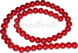 01866 Glaskraal crackle streng ±40cm Rood 8mm 1 streng