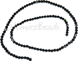 03988 Glaskraal imitatie swarovski Bicone streng ±40cm Black 4mm  1 streng