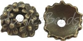 03774 Kralenkap Bloemenweelde Antiek brons (Nikkelvrij) 3,5mmx11mm; gat 2mm 8 stuks