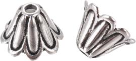 02574 Eindkap Hawaï Antiek zilver (Nikkelvrij) 7mmx5mm; gat 1mm 16 stuks