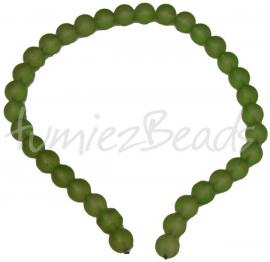 03409 Glaskraal streng (±30cm) frosted Groen 12mm 1 streng