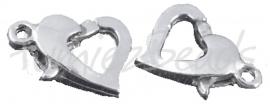 01704 Lobsterslot hart Zilverkleurig (Nickel vrij) 12mmx9mm 3 stuks