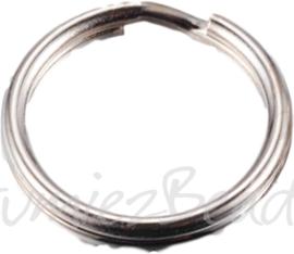 01242 Splitring / sleutelring Metaalkleurig (Nikkelvrij) 15mmx2mm 12 stuks