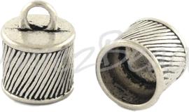 01987 Eindkap Antiek zilver (Nickel vrij) 15,5mmx12mm; gat 10mm 1 stuks