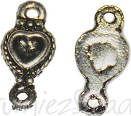 04161 Tussenstuk hartje Antiek zilver (Nikkelvrij) 16mmx8mmx2mm; oog 1,5mm 10 stuks