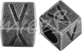 01174 Vierkante letterkraal V Antiek zilver