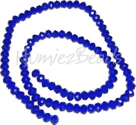 03978 Glaskraal imitatie swarovski faceted Abacus streng ±40cm Cobalt Blue 4mmx6mm  1 streng