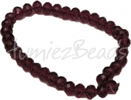 01623 Glaskraal imitatie swarovski faceted Abacus Bordeaux 6mmx8mm 1 streng (±20cm)