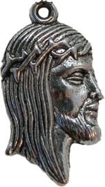 01880 Bedel hoofd Jezus Antiek zilver 24mmx13mm