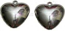 00721 Metallook Hanger hart Metaalkleurig 37mmx15mm 1 stuks