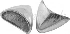 01813 Eindkap triangel Antiek zilver (Nikkelvrij) 20mmx13mm  3 stuks