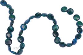 03651 Natuursteen streng ±40cm imitatie Chrysocolla Blauwgroen 12x4mm; gat 1mm 1 streng