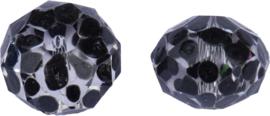 00743 Glaskraal Rondel handgeschilderd Transparant zwart 14mmx18mm; gat 1mm 1 stuks