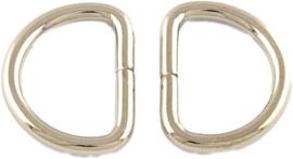 01325 Ringetjes D-ring Metaalkleurig 17,5mmx13mmx2mm; gat 13,5mmx9mm ±20 stuks