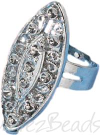 04230 Ring (verstelbaar) ovaal voor strass Metaalkleurig (Nikkelvrij) 30mmx13mm; Ø 18mm 1 stuks